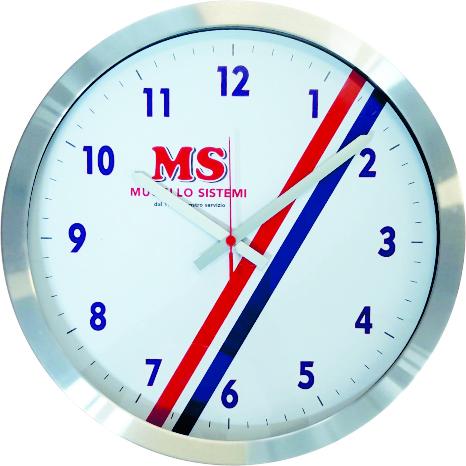 orologio da parete con logo in metallo