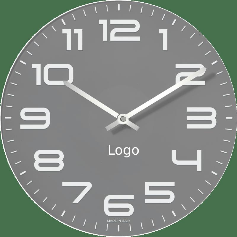 Orologio da parete grigio in vetro personalizzabile con il logo della tua azienda
