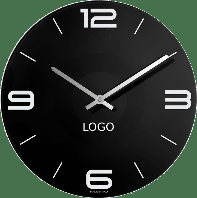 Orologio da parete nero in vetro personalizzabile con il logo della tua azienda