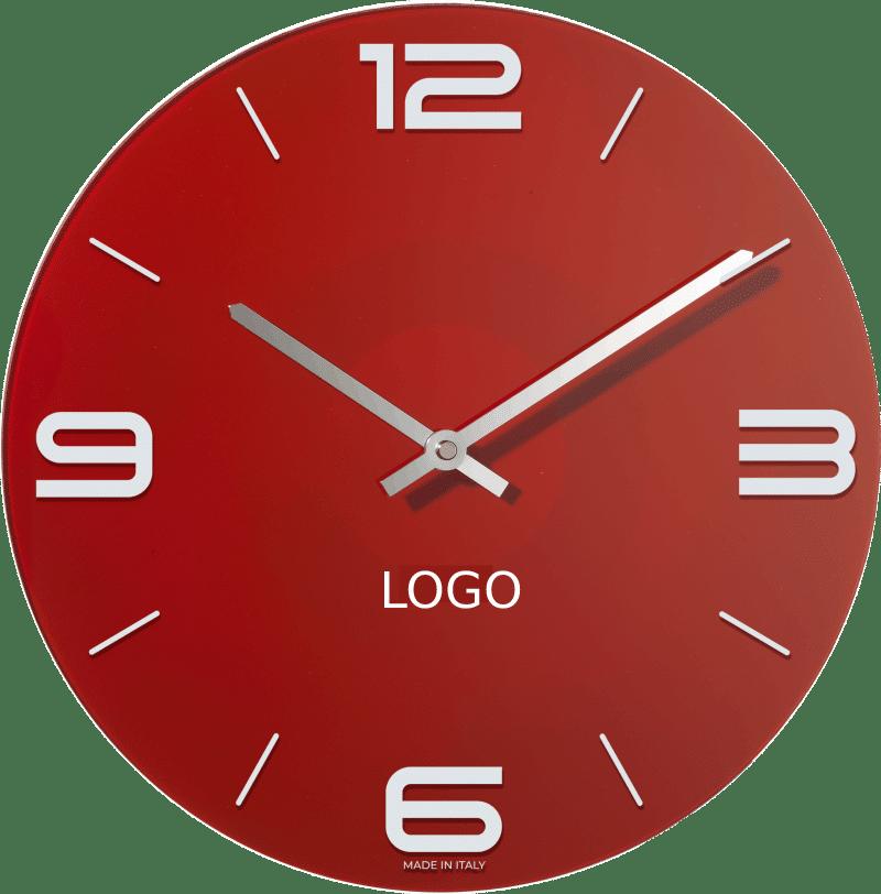 Orologio in vetro con il logo della tua azienda a partire da 30 cm di diametro