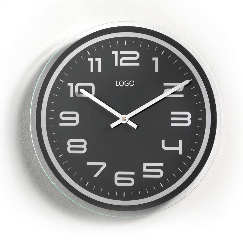 Promotional Wall Clocks Customizable in Plastic Black