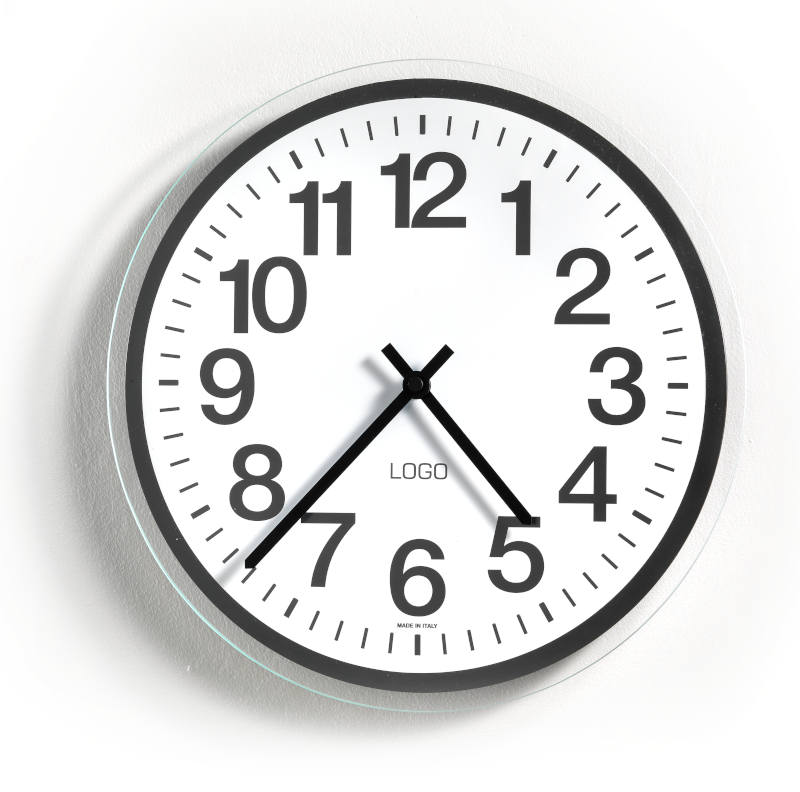 Advertising glass wall clocks red